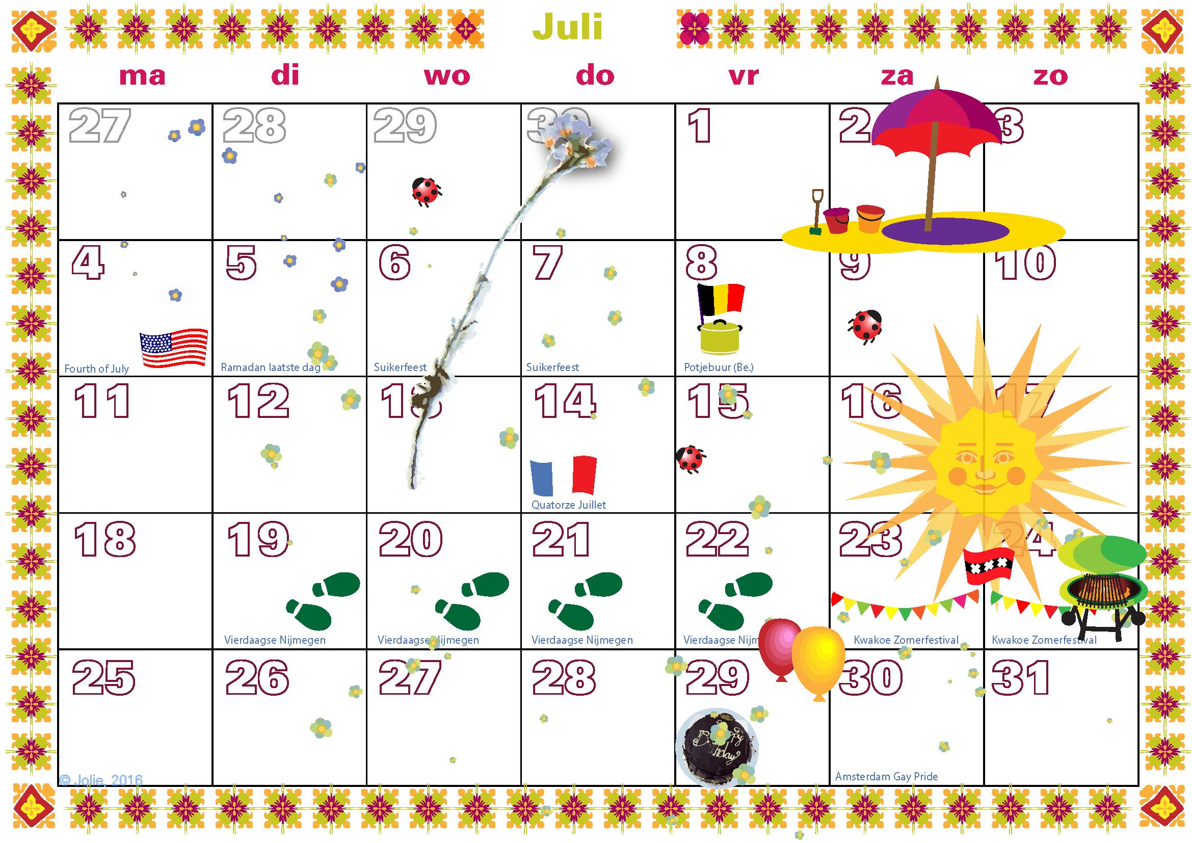 Complete kalender 2016